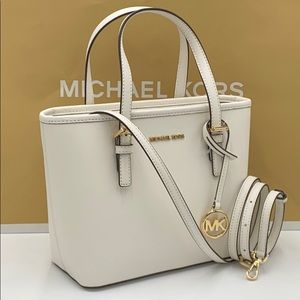 MICHAEL KORS XS CONVERTIBLE TOP ZIP TOTE OPTIC WHT